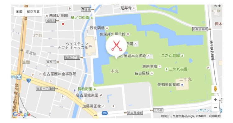 "[charm-gmap id=""map1"" lat=""35.172364"" long=""136.908309""] 表示例"