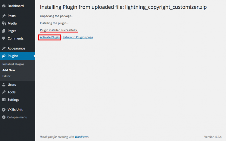 "To activate the plugin by clicking on the ""Active Plugin"""